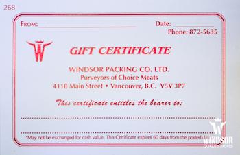 windsor gift certificate